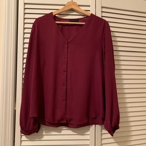 NWOT Plum Colored Button Blouse Size Large